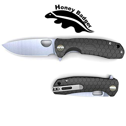 "Honey Badger Fin Blade Swiss Army Knife Liner Lock Foldable Blade Tactical Hunting Angling Outdoor Camping Fruit Blade FRN Take Care Of Deep Pocket Bring Clip (Black, Large 3.98 oz - 4.6"" Shut - 3.63"" Blade)."