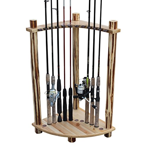 Thrill Creek Creations Traditional Log 12 Fishing Pole Storage Edge Shelf - Handcrafted Solid Pine - No Tool Assembly
