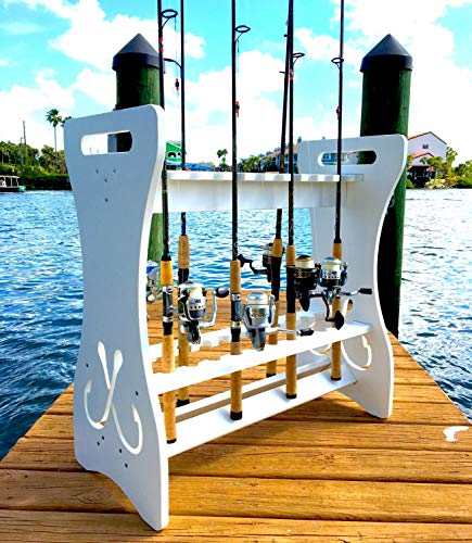 StoreYourBoard Fishing Rod Storage Rack, Holds 24 Fishing Rods and also Reels, Weatherproof, Indoor and also Outdoor Storage Stand