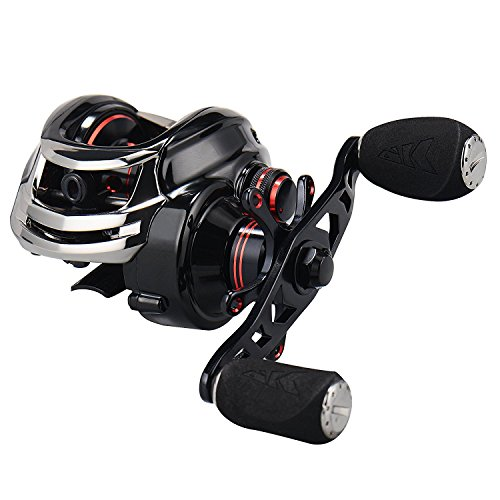 KastKing Royale Legend/Whitemax Low Profile Baitcasting Angling Reel-- 11 +1 Secured Bearings, 17.5 Lb Carbon Fiber Drag (A: Left-Black).