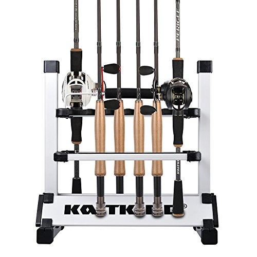 KastKing Rack 'em Up Mobile Light weight aluminum Fishing Rod Holder - 12 Poles Shelf SilverBlack