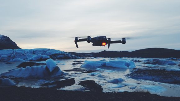 Flying drone in winter